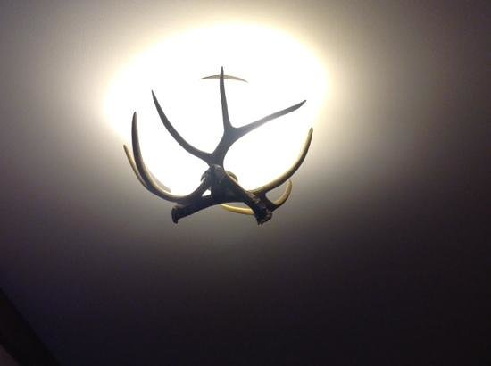 Crowne Plaza Lake Placid: faux antlers adorning ceiling fixture
