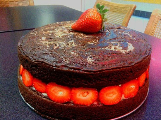 Fusion: Dark Chocolate and Strawberries with White Chocolate Bavarian Custard Layer Cake