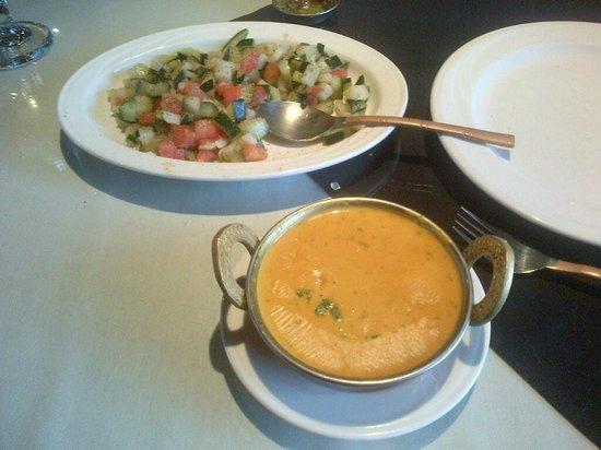 Taj Palace: Daj Soup and Katchcumber Salad