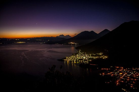 San Pedro La Laguna, Guatemala: The lights of San Pedro and San Juan below