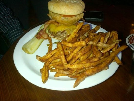 The Prodigal Son Brewery and Pub: My colleague's Jalepno Burger and Fries