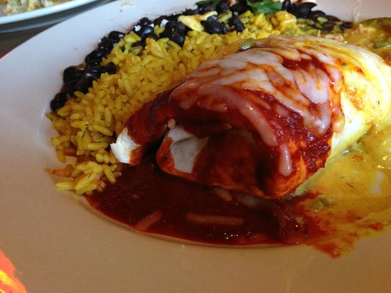 Table Mesa Bistro: Curry chicken burritos with curry and guajillo sauces