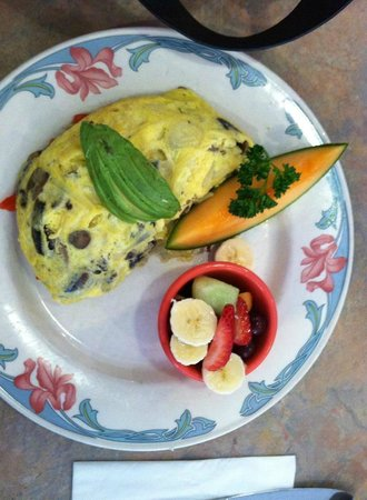 Peg's Glorified Ham n Eggs: Plaza Omelette with fruit hold the hash browns