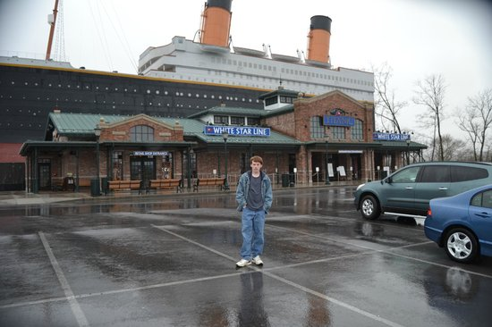 Titanic Museum Attraction: My son in front of Titanic