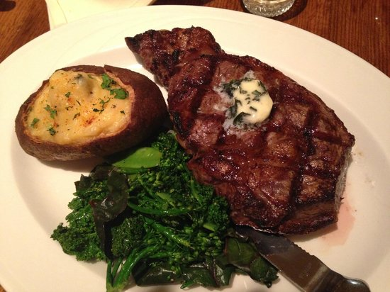VI Restaurant & Bar: Ribeye w/Garlic Herb Butter and twice baked potato