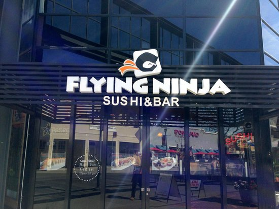 Flying Ninja Sushi and Bar: Easy to find.
