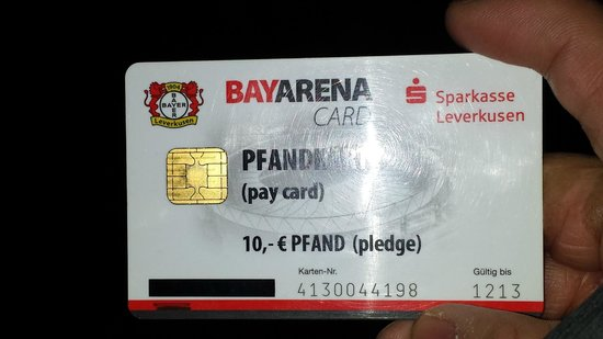 BayArena: 10 euro debit card they force you to purchase in order to make any purchases in the stadium