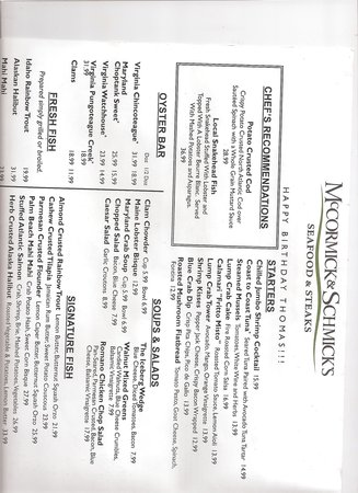 McCormick & Schmick's : Specially printed birthday menu... nice!... But check the $$ on the fish.