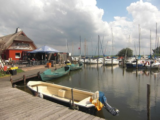 Boddenblick: Blick von der Hafen-/Boddenseite zur Terrasse