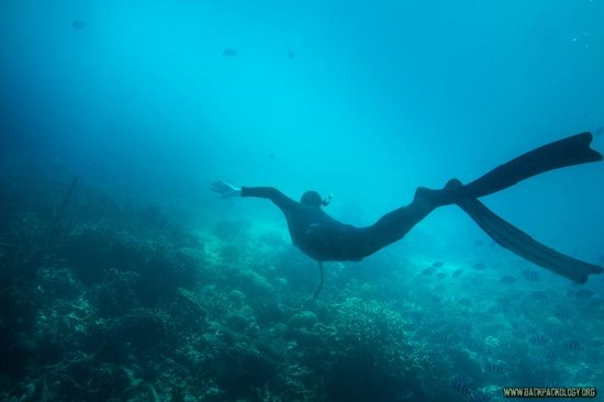 Just One Breath Freediving : Me on my first lesson, off the coast of Coron.