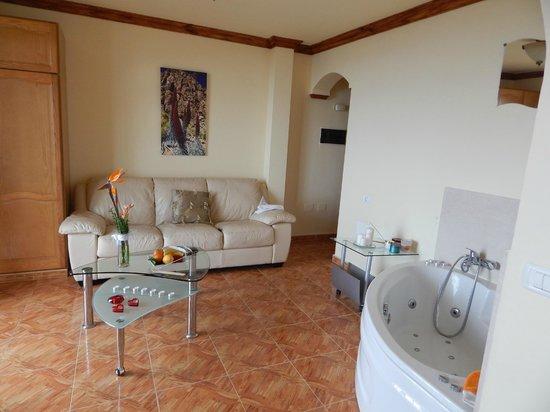 Apartamentos Estrella del Norte: Living area + jacuzzi bath