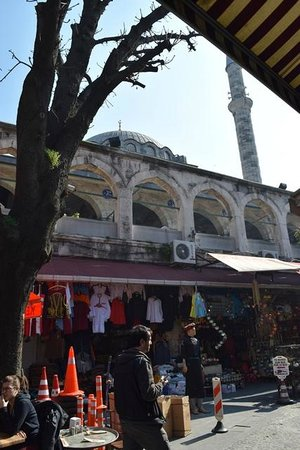 Rustem Pasha Mosque: The view of the mosque from the street below, the doorway/gate entrance is just off to the left