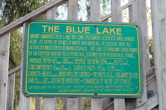 The Blue Lake: Placard