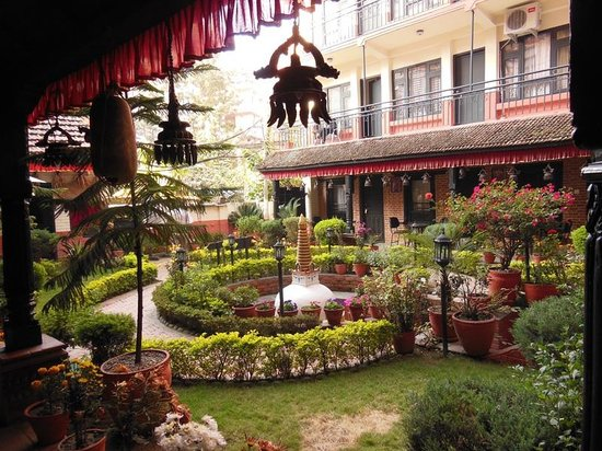 Thamel Eco Resort: The garden and central stupa
