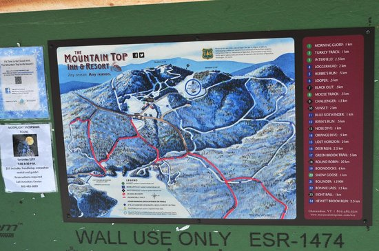 The Mountain Top Inn & Resort : Map of the 50+ kms of nordic ski trails.