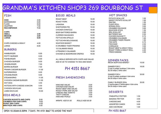 Bundaberg, أستراليا: Grandma's Kitchen Menu