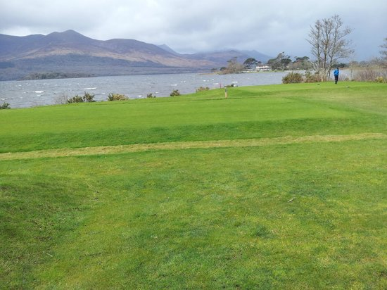 Killarney Golf & Fishing Club: Lake, clubhouse and mountains from 3rd tee