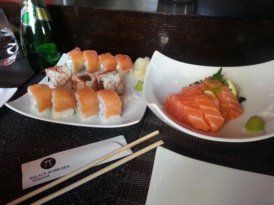 Palace Sushi Zen : salmon sashimi, spicy tuna and salmon maki