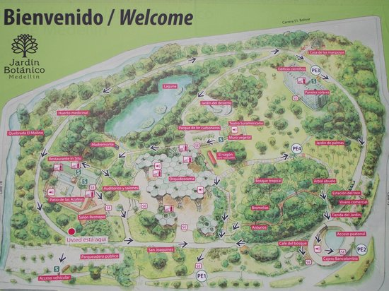 Jardin Botanico de Medellin : Map of the park
