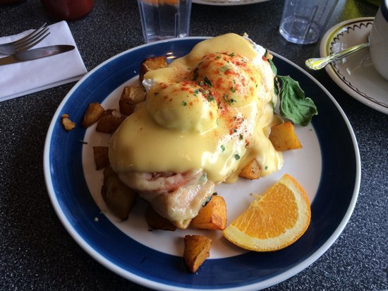Mount Bakery Cafe: Eggs Benedict- spinach, tomato, basil all atop a waffle!