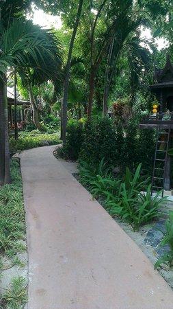 Montien House : Внутренний сад. Дорожка в ресторан