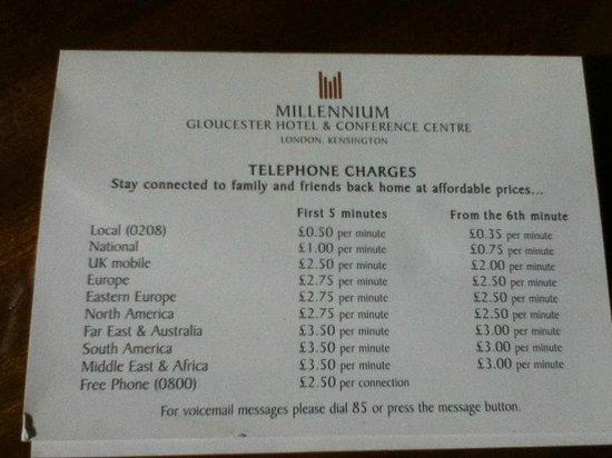 Millennium Gloucester Hotel London Kensington: Hilarious phone charges