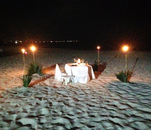 West Bay Club: Setting for the private beach dinner