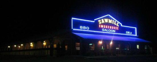 Bonnerdale, AR: Sawmill glowing at night.