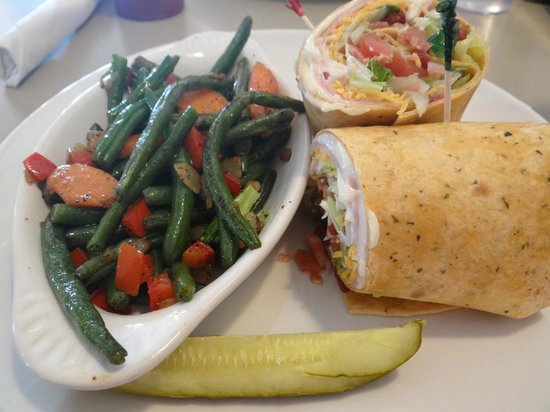 Cornerstone Cafe: California wrap with a side and pickle