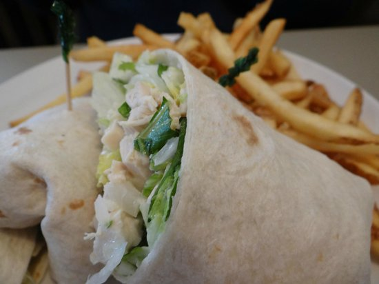 Cornerstone Cafe: Grilled Asiago Chicken wrap with fries