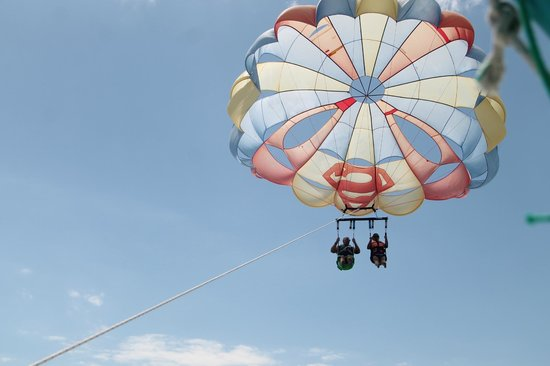 Maroma Adventures: Our friends parasailing