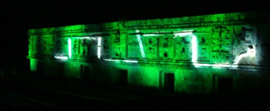 Hotel Hacienda Uxmal Plantation & Museum : Temple Walls with Illuminated Serpent Glyphs during Light and Sound Show Uxmal
