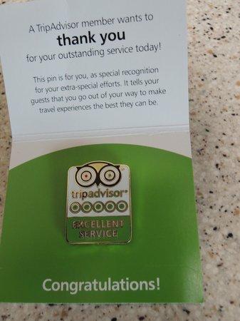Mount Shasta Resort: This is the TRIP ADVISOR PIN that I was so happy to present it to Bonnie at the reservations des