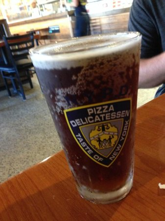 Awesome NYPD Pizza logo on a great chilled glass