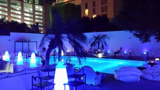 Ocean Bangkok: The pool area by night