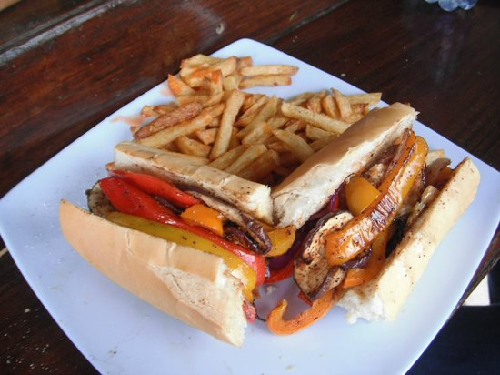Saona Cafe: one of my favs...roasted pepper, zucchini and eggplant baguette