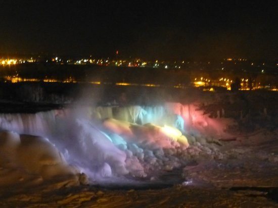 Sheraton on the Falls Hotel : Night view from room of the frozen American Falls. March 7, 2014