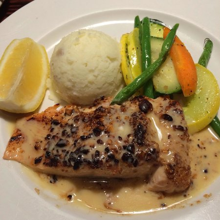 Cal's Wood-Fired Grill & Bar : Hazlenut-Encrusted Atlantic Salmon with a sweet honey mustard sauce and garlic-whipped Yukon Go