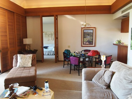 Mauna Lani Terrace Condominiums: Great Room facing into bedroom, kitchen passthrough to right, lanai to left.