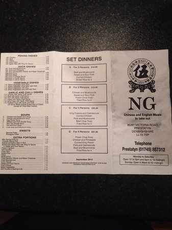 Ng Chinese Takeaway: ng menu