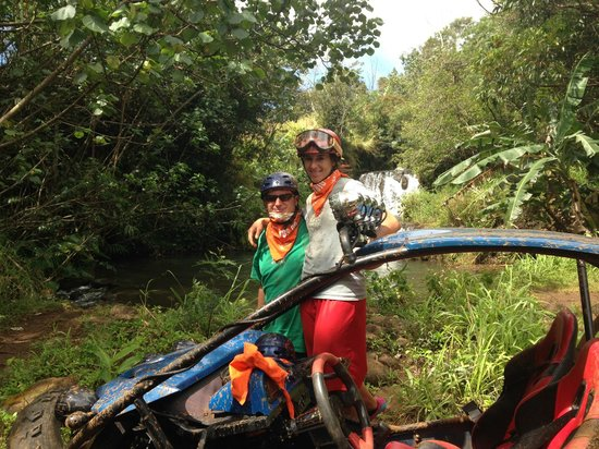 Kauai ATV Tours: The waterfall you can swim in.  Lunch stop here.