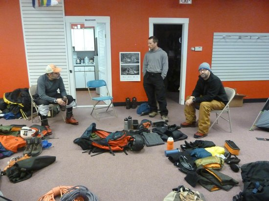 International Mountain Climbing School: Gear check at IMCS