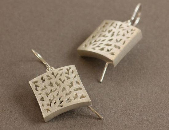 DeLong Studio: Hollow built brushed silver earrings with cut-outs