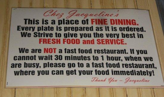 Chez Jacqueline Restaurant : fun