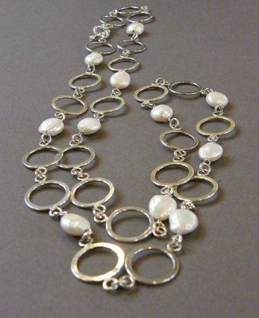DeLong Studio: Silver circle chain with coin pearls