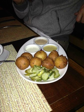 Vermilion Restaurant : Hush Puppies with home made pickles