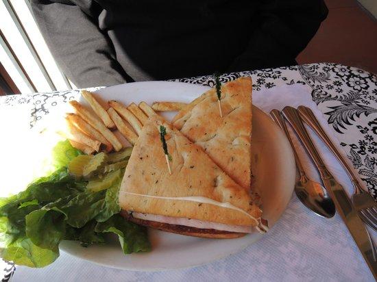Cornerstone Cafe : Homemade focaccia bread w/ Grilled Ham And Swiss Sandwich