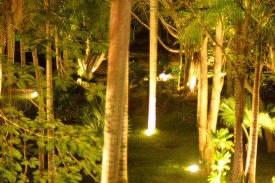 Hotel & Bungalows Mayaland: The garden at night