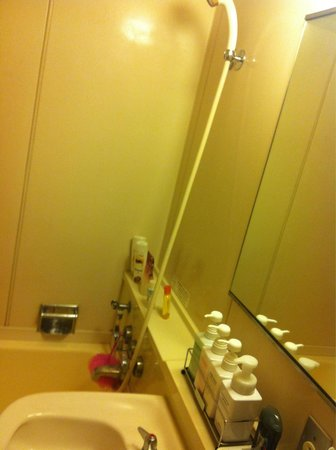 Hotel Gimmond Kyoto : Shower area with Shisheido free toiletries by the sink