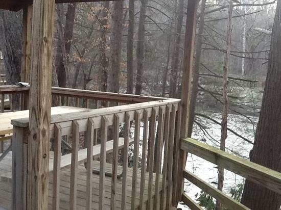 River view from the deck in RV spot at Tremont Outdoor Resort.